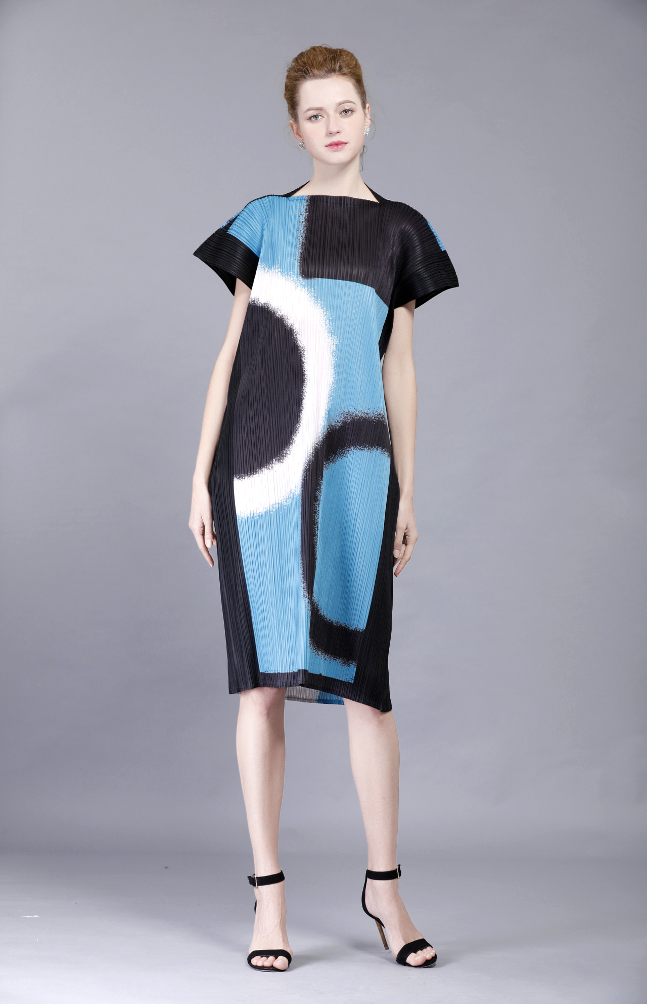 FREE SHIPPING fashion FOLD DRESS rectangle color block dress pleated loose one piece dress IN STOCK