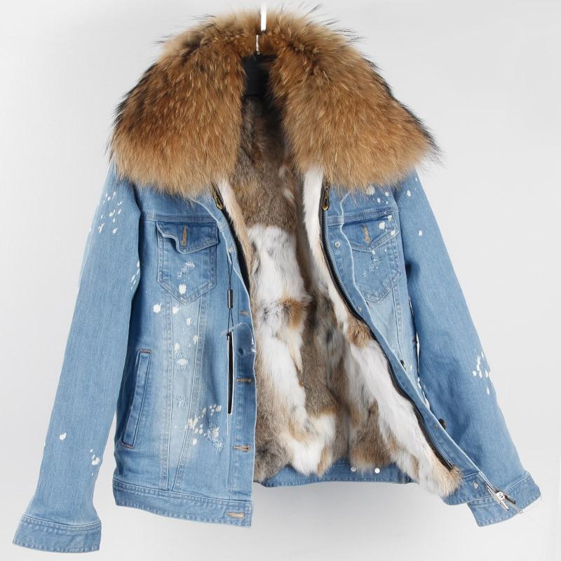2018 Brand New Denim Jacket Slim Rex Rabbit Hair Liner Super Large Raccoon Hairy Collar Jacket Long sleeved Jacket Female Coat