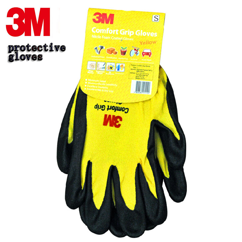 3M protection gloves Comfortable type coated gloves Breathable Wearable leather working gloves oil free comfortable cheap nitrile gloves white nylon knitted hands protection gloves white mechanic construction industry