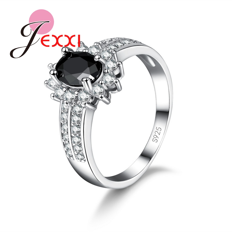 JEXXI New Fashion Women Jewelry Rings With Big Oval Black Shiny Crystal 925 Sterling Silver Fashion Party Accessories Hot Sale