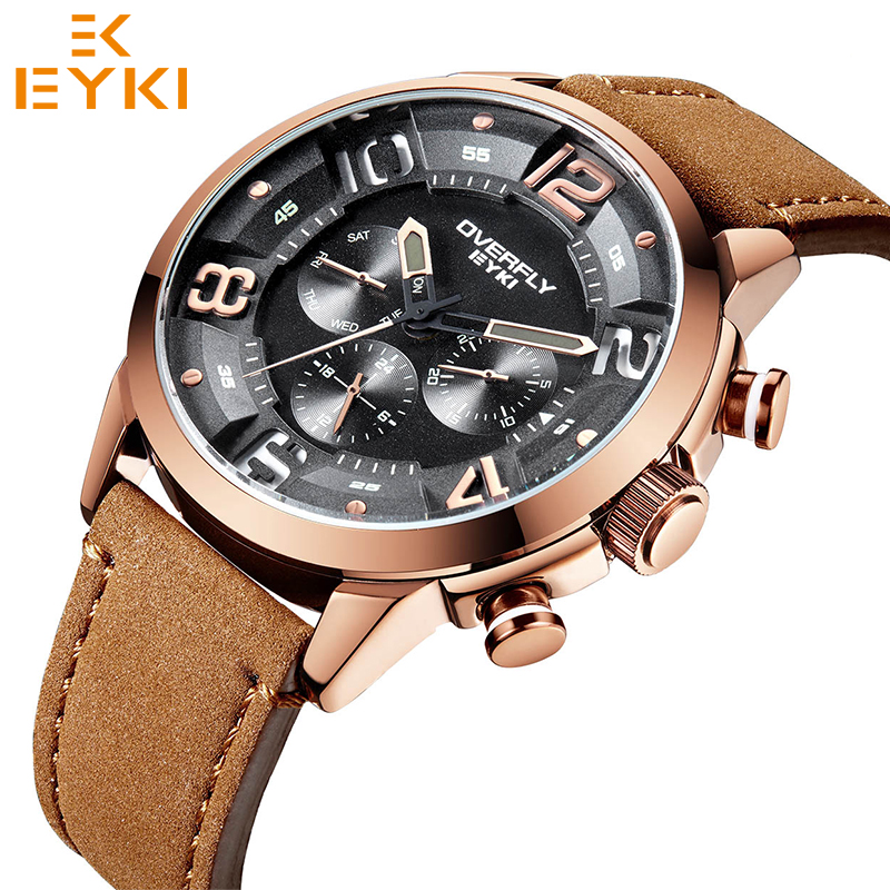 EYKI Watch Men White Genuine Leather Watchband Man Brown Strap Sport Watch Brand Luxury Quartz Wristwatch Montre Homme Reloj women crocodile leather watch strap for vacheron constantin melisa longines men genuine leather bracelet watchband montre