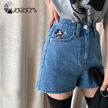 2019 Women Summer Mickey Mouse Jean Shorts High Waist Cute Cartoon Embroidery Female Casual Loose Street Wear Club Shorts