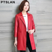 Ptslan Women's Genuine Leather Coat Spring Fashion Classic Long Sleeve  Coat Ladies Leather Windbreak Sheepskin Jacket