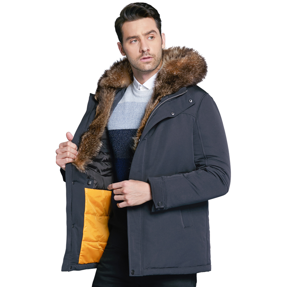 ICEbear 2018 new winter men's jacket high quality fur collar coats  windproof warm jackets man casual coat clothing MWC18837D arsuxeo thermal cycling jacket winter warm up bicycle clothing windproof waterproof breathable pockets mtb bike jersey 15 k
