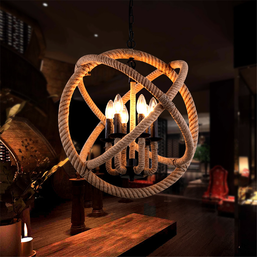 Vintage Bar Pendant Lights Wrought Iron Industrial Hotel Lighting Kitchen Island LED Light fixture Antique Rope Ceiling Lamp