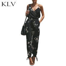 Women Sleeveless Retro Floral Jumpsuit Sexy Wrap V-Neck Drawstring High Waist Rompers Side Split Playsuit Long Pants With Pocket black sexy v neck drawstring waist playsuit with zipper