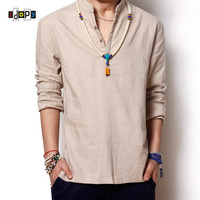 New Summer Men S Linen Cotton Blended Shirt Mandarin Collar Breathable Comfy Traditional Chinese Style Shirts