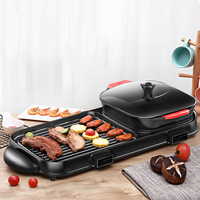 Electric Barbecue Hotpot Grill Smokeless Bakeware Grilled Hot Pot Large Non stick Barbecue Machine Kebab Grill Korean BBQ Indoor