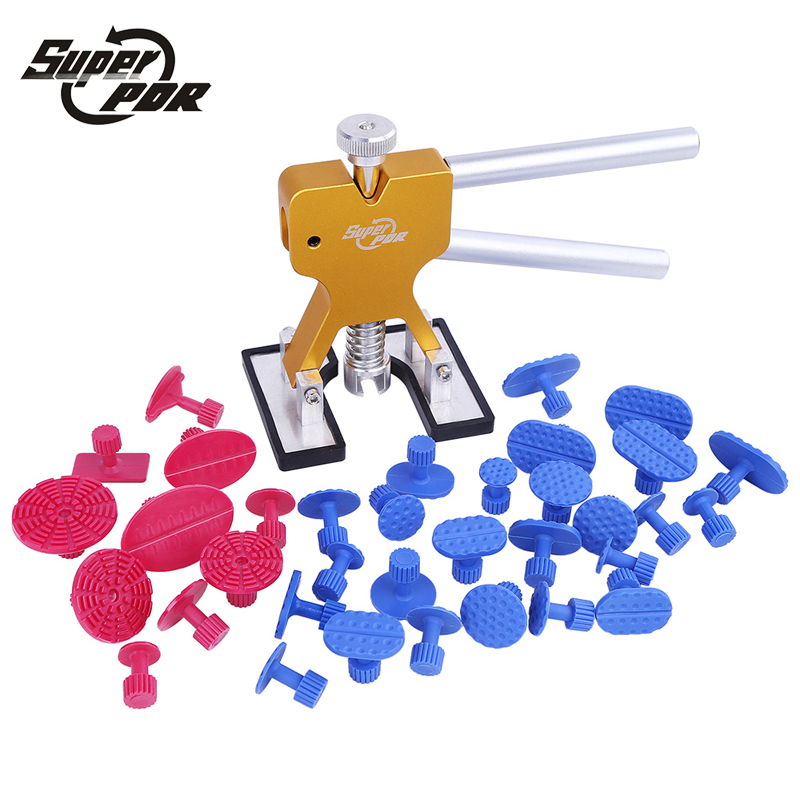 Super PDR Tools Kit  Professional Hand Tool Sets High Quality Car Paintless Dent Repair Tools Set Gold Dent Puller Glue Tabs watch repair tool kit watch tools 9 5cm 4 5cm pins puller watchmaker tools watch hand remover tool parts accessories