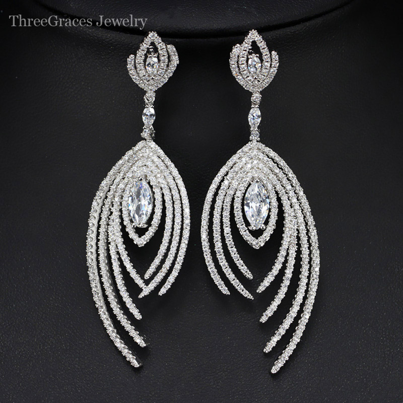 Threegraces Vintage Earrings Costume Jewelry White Gold Color 7cm Cubic Zirconia Long Hanging Drop Earring For Party Women Er331 In From