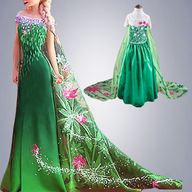 Лихорадка зеленый elsa костюмы девушки косплей ну вечеринку платье принцесса анна рождество congelados vestidos эльза феста meninas vestir