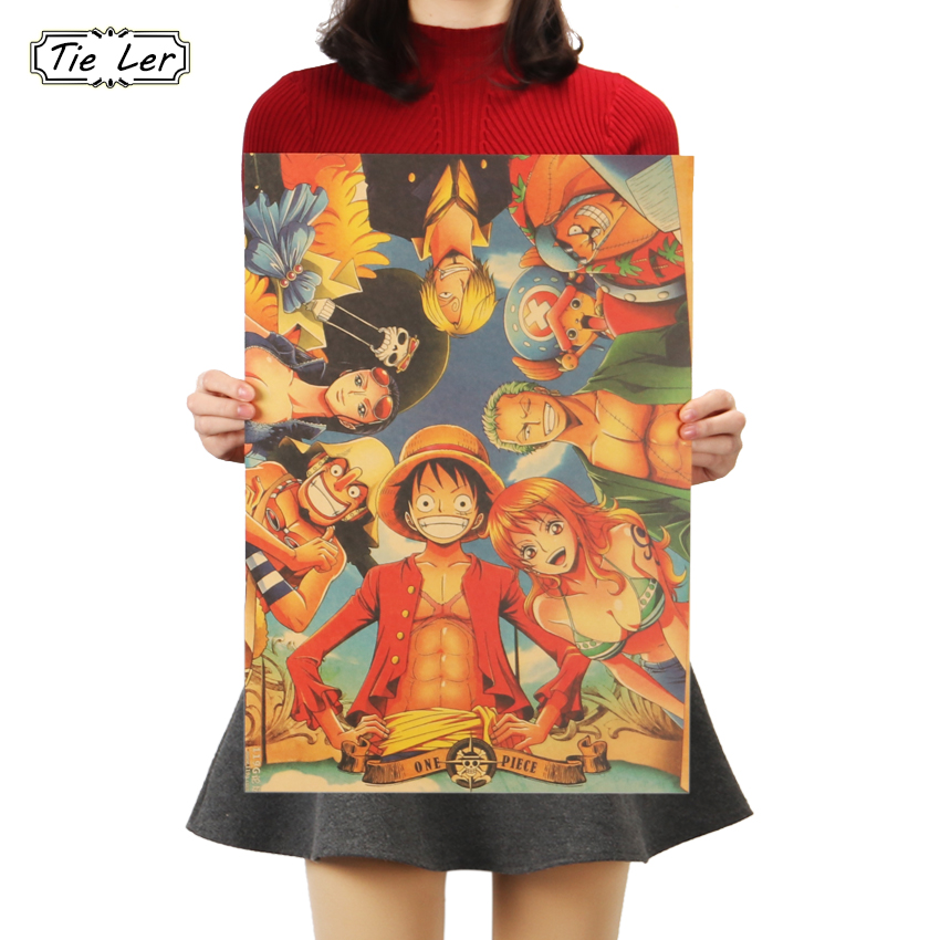TIE LER Home Decor Wall Stickers Vintage Paper Anime Poster One Piece Posters Decorative Painting