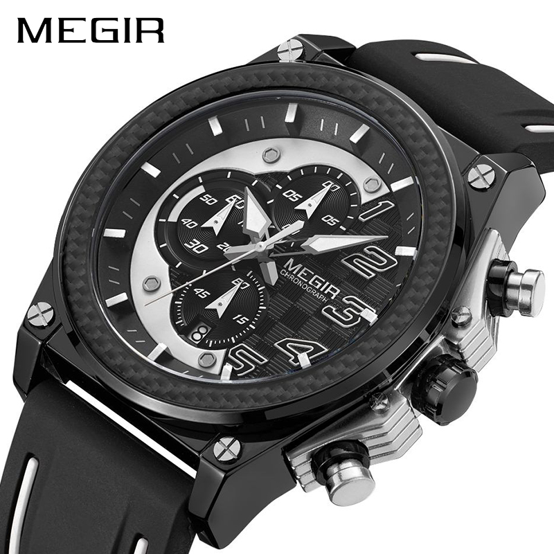 цена на MEGIR Army Military Watches Relogio Masculino Fashion Chronograph Men Sport Watch Silicone Strap Quartz Wristwatches Clock Men