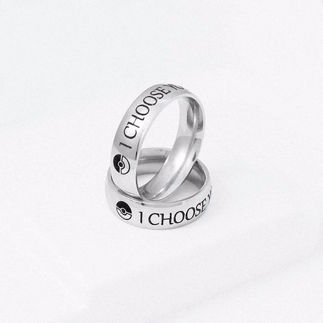 I Choose You Ring Couple Stainless Steel Engagement Rings for Him and Her Ring of Promise of Pokemon Fans Man Woman Jewelry