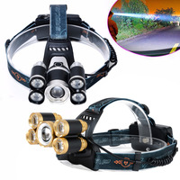 Adjustable 35000 Lumens Brightness 5 XM L T6 LED Headlamp Headlight Flashlight Head Lamp Fishing Hunting