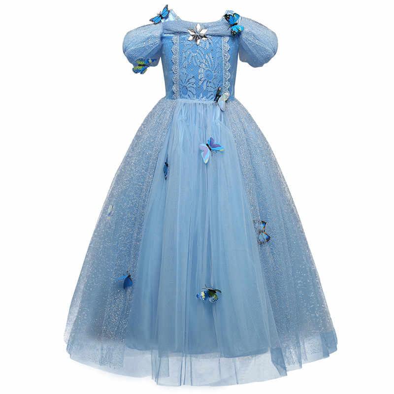 Платье принцессы; костюмы для девочек на Рождество; Костюм Золушки, Анны, Эльзы; платья для костюмированной вечеринки для девочек; Детские вечерние платья Белоснежки