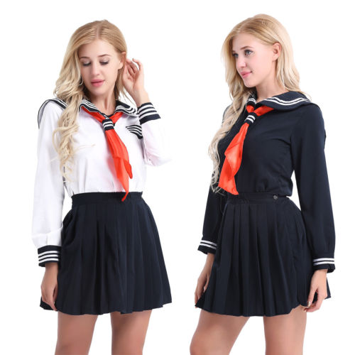 Japanese High School Girl Sailor Uniform Suit Cosplay Costume Dress Long Sleeve Anime Jigoku Shojo Hell Girl Enma Ai Cosplay
