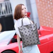 Issey Miyak Mode Handtaschen Laser Geometrie Diamant Form PVC holographische tasche Handtasche Schultertasche 6*7