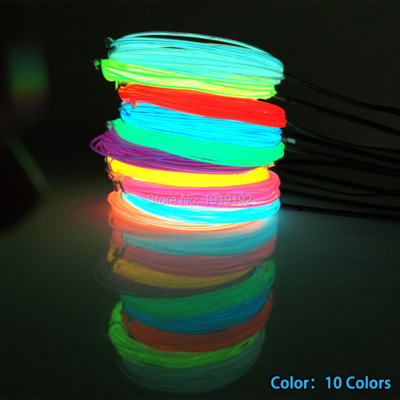 1.3mm 10 Color Choice EL Wire Rope Tube Flexible Neon Light Not Include The Controller For Festival Party Decoration
