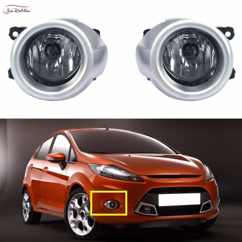 JanDeNing Car Fog Lights  For FORD FIESTA 2009  Clear Front Fog Lamp Cover Trim Replacement  Assembly kit  (one Pair) beler high quality abs plastic car black 2pcs front bumper fog light cover grille 2pcs lamp set for ford fiesta 2014