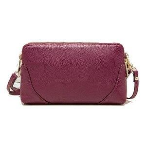 Image 4 - Moda donna borsa a tracolla borsa del cuoio genuino doppio disegno della chiusura lampo della pelle bovina tote di crossbody bag colori