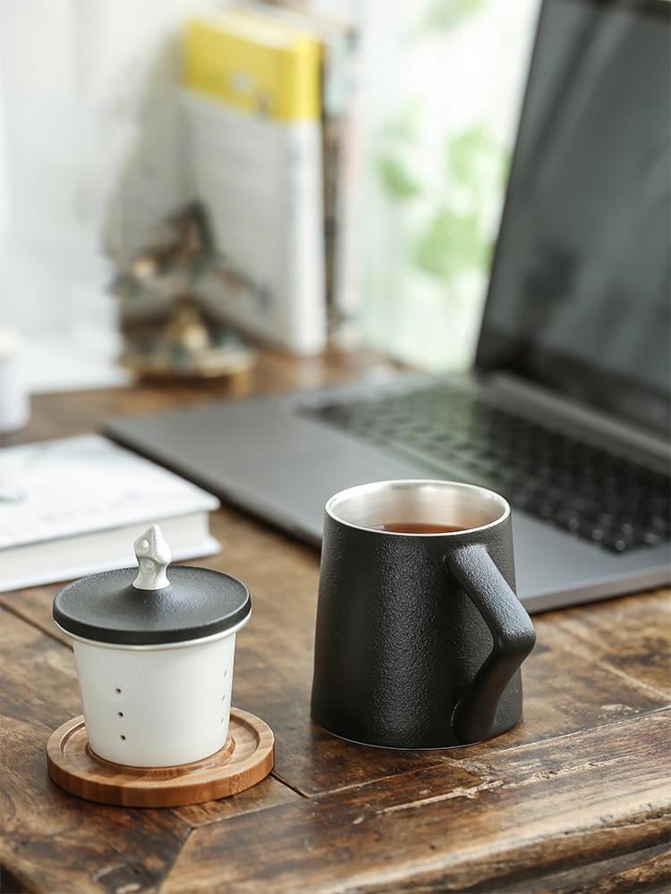 TANGPIN 999 silber und keramik tee becher mit filter schwarz chinesischen kung fu tasse 310 ml - 2