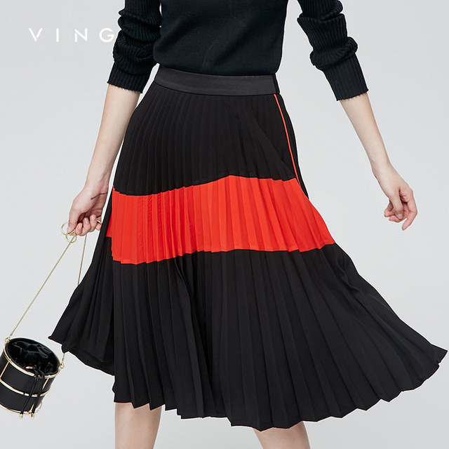 5573583bd2c VING 2017 Skirts Autumn High Waist Personalized Contrast Color A-Lined Skirt  Character Female Pleated