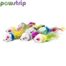 pawstrip 5pcs/lots False Mouse Cat Toys Feather Faux Fur Pet Toy With Sound Rattling