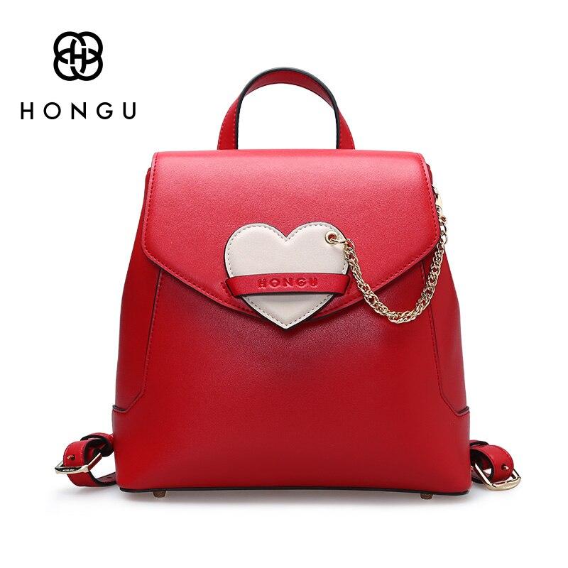 06d1801e28 Hongu Light Luxury Genuine Leather Women Heart ornaments Backpack Famous Brand  Girl school Killer bag Leisure travel Bag mochila