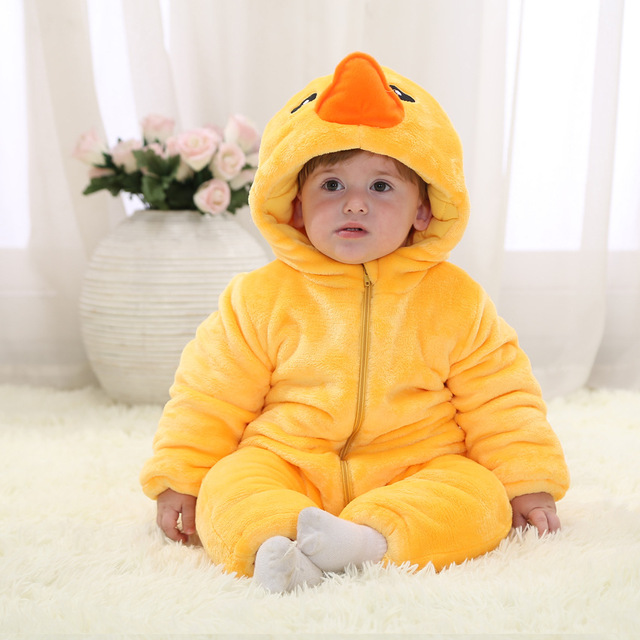 Fashion thicken flannel cotton lining warm winter baby hooded jumpsuit infant toddler snowsuits (600-700g)