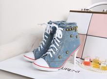 New Novelty Women Sexy Rivets Canvas High Heels Ankle Boots ,Girls Casual Jeans Denim Pumps Party Shoes Drop Shipping