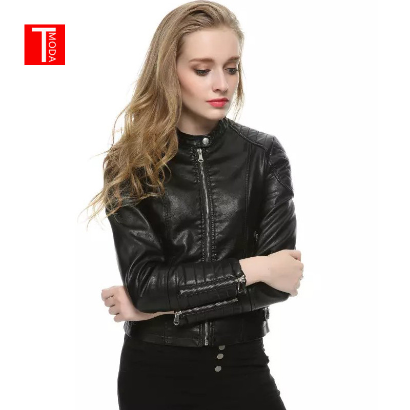 2018 Autumn Winter Women Faux   Leather   Jackets and Coats Lady Pu Motorcycle Black Zipper Coat Streetwear Biker Outerwear