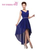 Sexy v neck đen bridesmaid knee length cao thấp dress red blue màu phù dâu ngắn pageant dresses đối với người lớn H3753