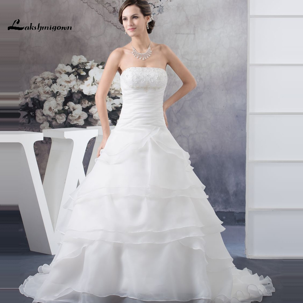 Simple Ivory Wedding Dresses: Romantic Strapless Sleevless China Wedding Dresses Organza