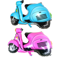 Pink or Blue Aluminum motorcycle balloon car battery electric bicycle balloon baby car toy balloon birthday gift globos