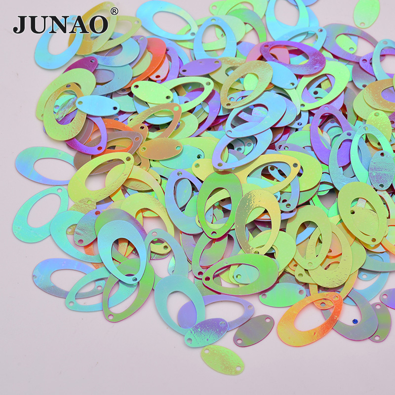 JUNAO 20g 14*22mm Mix Color Sewing Sequins Oval Shape Flat Paillettes Earing Pendant Scrapbooking DIY Crafts Home Decoration soccer-specific stadium