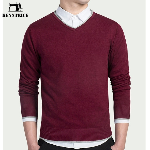 Kenntrice Casual Classic College Sweaters Men V-neck Formal Pullovers Winter Slim Fit Design Gray Knitwear Men Solid Large Size