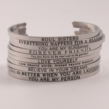 Hot Fashion 316L Stainless Steel Bangle Engraved Positive Inspirational Quote Cuff bracelet Mantra Bracelet for Women