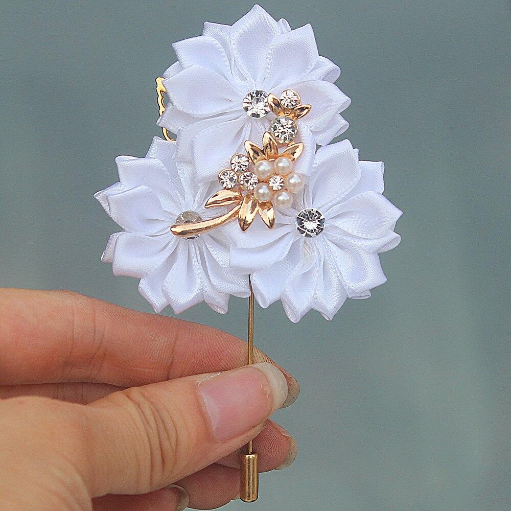 Белые Сатиновые цветы, корсаж для свадьбы с золотым листом и кристаллами, брошки для свадебной вечеринки, мужской костюм