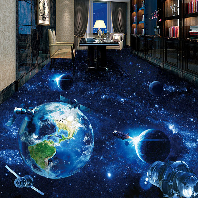Custom 3d floor wallpaper universe starry sky photo mural for Bathroom floor mural sky