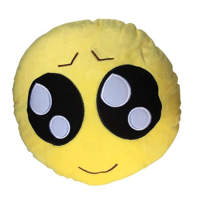 부드러운 이모티콘 스마일 이모티콘 노란색 원형 쿠션 베개 봉제 장난감 인형 키스 심장 선글라스 웃음 눈물