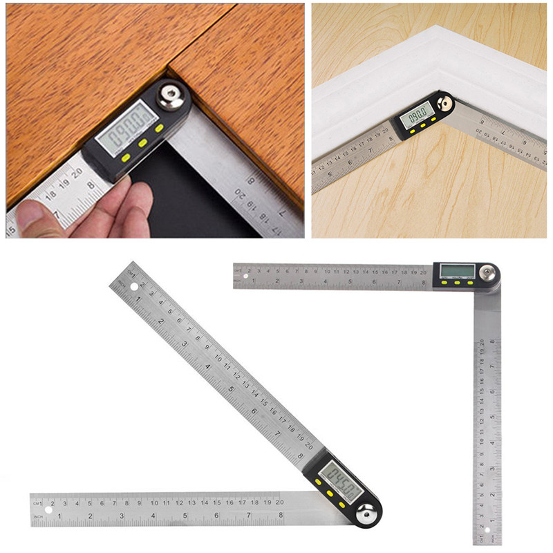 Liplasting 200mm 360 Digital Stainless Steel 2 in 1 Electronic Angle Finder Guage Meter Ruler Protractor Inclinometer Goniometer  elecall 200mm digital protractor inclinometer goniometer level measuring tool stainless steel waterproof electronic angle gauge