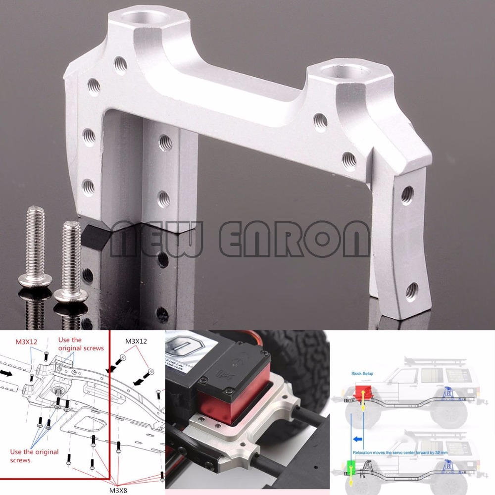NEW ENRON 1:10 Aluminum Servo Relocation & Bumper Mount SCX2024N FOR RC 1/10 AXIAL SCX10 II 90046 90047 стоимость