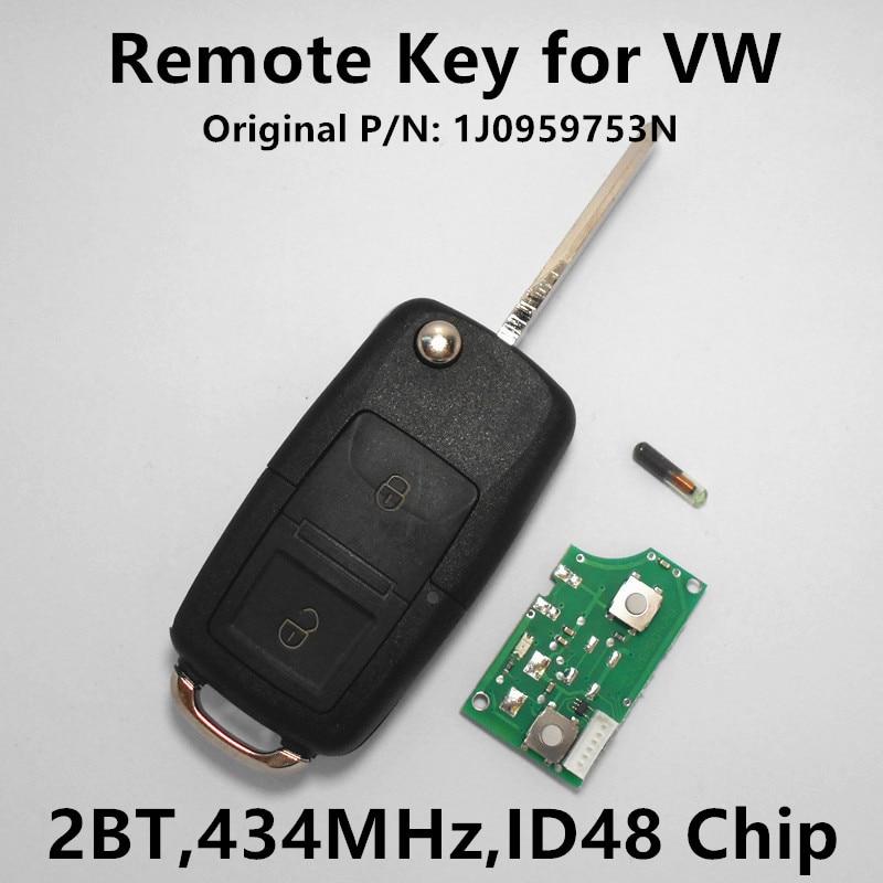 Prix pour Télécommande de la Clé pour VW Volkswagen Golf MK4 Passat Bora Beetle voiture Sans Clé de Contrôle 434 MHz avec ID48 Puce 1J0959753N 1J0 959 753N