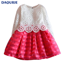 New Europe 2018 spring DAQURJE fashion christmas Grils dress long-sleeve dress girl clothes lace hollow elsa cute party dresses(China)