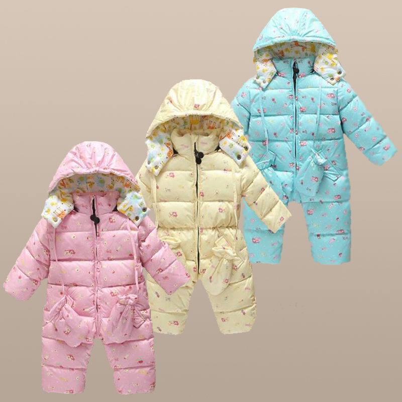 baby Winter down Rompers Infant Boy's Girl's Warm thicken Jumpsuits Down Overalls outwears for Winter baby snowsuits clothing warm thicken baby rompers long sleeve organic cotton autumn