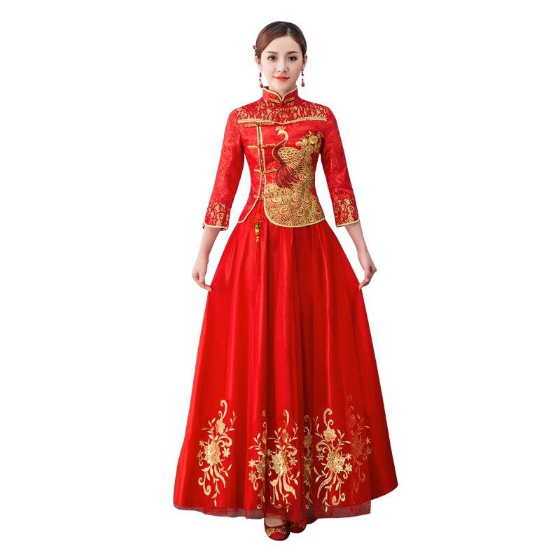 Fashion Merah Pakaian Tradisional Cina Lengan Panjang Cheongsam untuk Wanita  Pernikahan Cina Qipao Wanita Jubah Gaun Pesta di Cheongsams dari Novelty ... 9fb29985ff