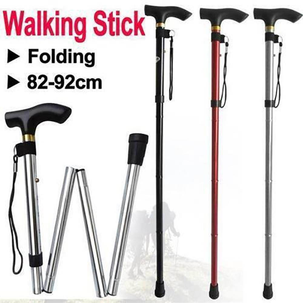 Mountain Climbing Cane Four-Section Telescopic Folding Cane Trekking Pole Anti-Slip Cane Elderly Walking Stick