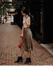 Vintage High Waist Midi Skirts Leopard Pattern Women Skirt Sexy Slim Wild women skirt Casual slip style skirt