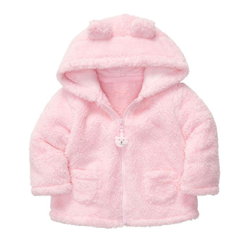 2017 New Style Baby Girl Coats and Jackets Hooded Thick Tops Children Outerwear Boys Winter Baby Coat Coral Velvet Cotton